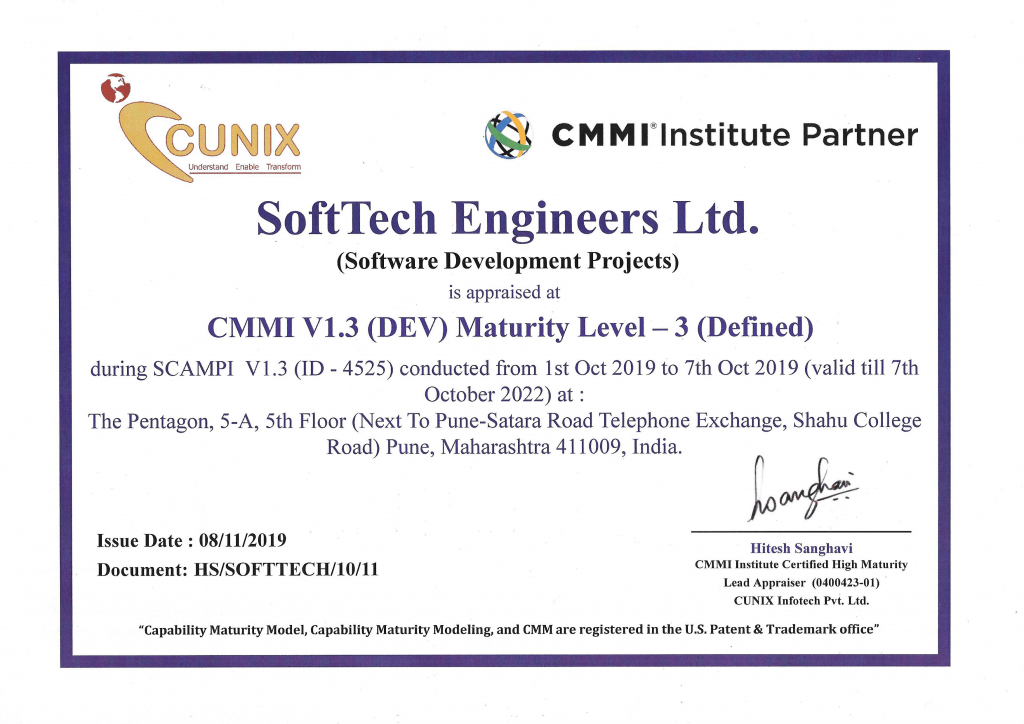SoftTech Engineer CMMi Level 3 completed